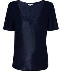 blusa dudalina manga curta decote v brilho feminina (azul marinho, gg)