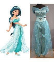 aladdin princess jasmine cosplay costume adult women party sexy jasmine dress