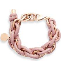 women's knotty leather wrap chain bracelet