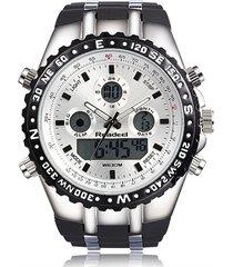 reloj hombre cuarzo deportivo digital led readeel 1272 negro blanco