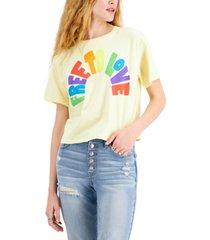 mad engine juniors' cotton free to love graphic-print t-shirt