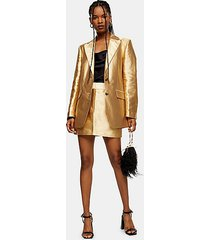 gold satin mini skirt - gold
