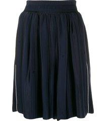 golden goose side-stripe flared shorts - blue