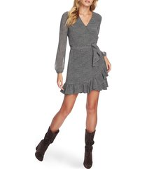 women's 1.state long sleeve ruffle hem wrap dress