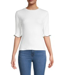 lea & viola women's embellished-sleeve top - white - size l