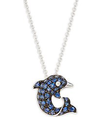 14k white gold, sapphire & diamond dolphin pendant necklace