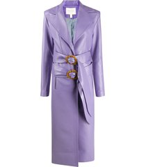 matériel double-buckle faux-leather coat - purple