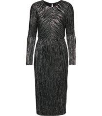 yasmomilla foil ls dress knälång klänning svart yas