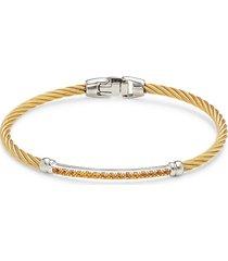 alor women's 14k white gold, goldtone stainless steel cable & pavé citrine bracelet