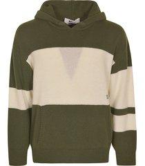 msgm stripe detail knit hoodie