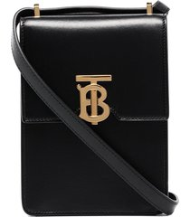 burberry valencia leather crossbody bag - black