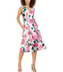 calvin klein belted floral-print midi dress