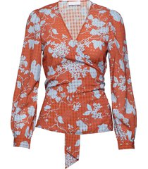 2nd harlow flowy blus långärmad orange 2ndday