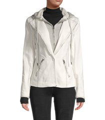 central park west women's cotton-blend hooded jacket - natural - size xs