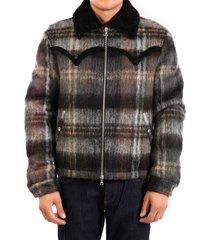 amiri plaid short trench coat