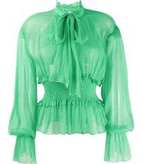 msgm tie-neck smocked chiffon blouse - green