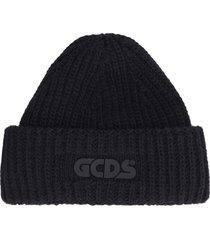 gcds ribbed knit wool beanie hat