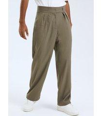 botón plisado de moda para hombre diseño pierna recta cintura alta casual pantalones
