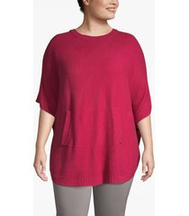 lane bryant women's textured poncho with kangaroo pocket 22/28 red bud