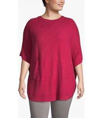 lane bryant women's textured poncho with kangaroo pocket 22/28 red bud