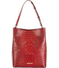 brahmin amelia melbourne embossed leather bucket bag