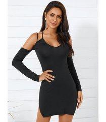 yoins negro criss-cross hombro frío mangas largas sexy vestido