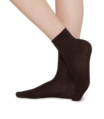 calzedonia - short ribbed socks with cotton and cashmere, 39-41, brown, women
