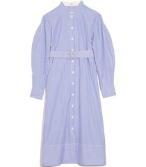striped shirtdress with d-ring belt in blue multi
