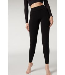 calzedonia ribbed leggings with cashmere woman black size m