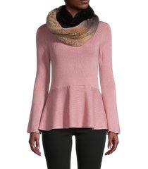 la fiorentina women's rabbit fur infinity scarf - brown