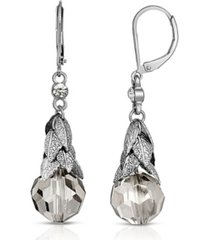 2028 silver-tone clear crystal beaded leaf drop earrings