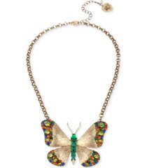 """betsey johnson gold-tone multicolor crystal butterfly pendant necklace, 16"""" + 3"""" extender"""