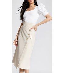 river island womens cream button front midi pencil skirt