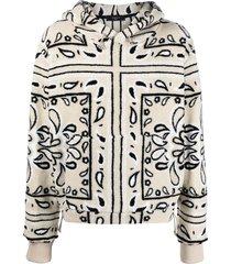 amiri bandana-print cotton hoodie - white