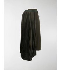 sacai asymmetric pleated midi skirt