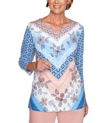 alfred dunner petite pearls of wisdom 2019 printed embellished top