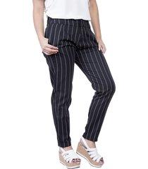 pantalón lino rayas negro vamos 89765