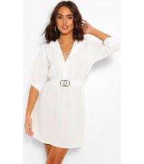 blouse jurk met ceintuur, wit