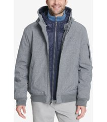 tommy hilfiger men's big & tall hooded soft-shell jacket with inset quilted puffer bib