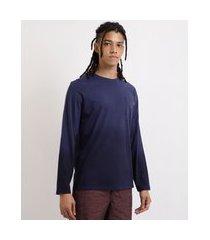 camiseta masculina degradê dip dye manga longa gola careca azul marinho