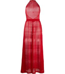 missoni macacão de tricô chevron - vermelho