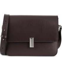 boss hugo boss women's nathalie leather shoulder bag - dark brown