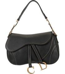 christian dior pre-owned saddle shoulder bag - black