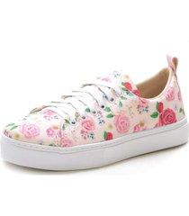 slip on iate sapatãªnis sapatilha feminina urbano confort - branco/floral/rosa - feminino - tãªxtil - dafiti
