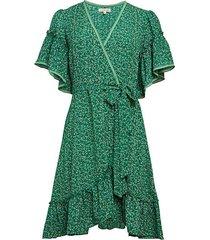 print ruffle flare dress