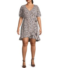 sanctuary women's plus leopard wrap dress - neutral spots - size 3x (22-24)