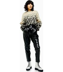 black cracked faux leather vinyl peg pants - black