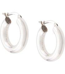 bottega veneta distressed hoop earrings - silver