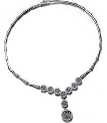 genevive black cubic zirconia y-necklace in black/white at nordstrom