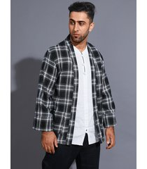 chaqueta de punto con estampado a cuadros con protección solar informal para hombre